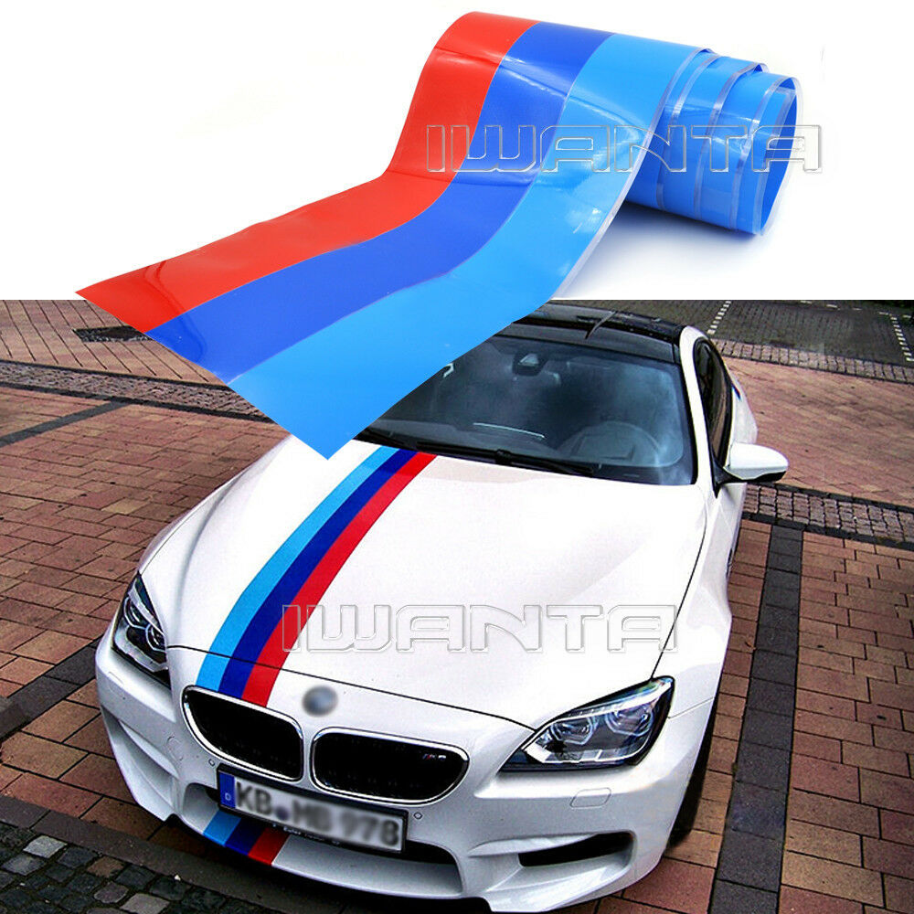 1.5M 2M 3M M-Colored Stripe Car Hood Sticker Decal For BMW