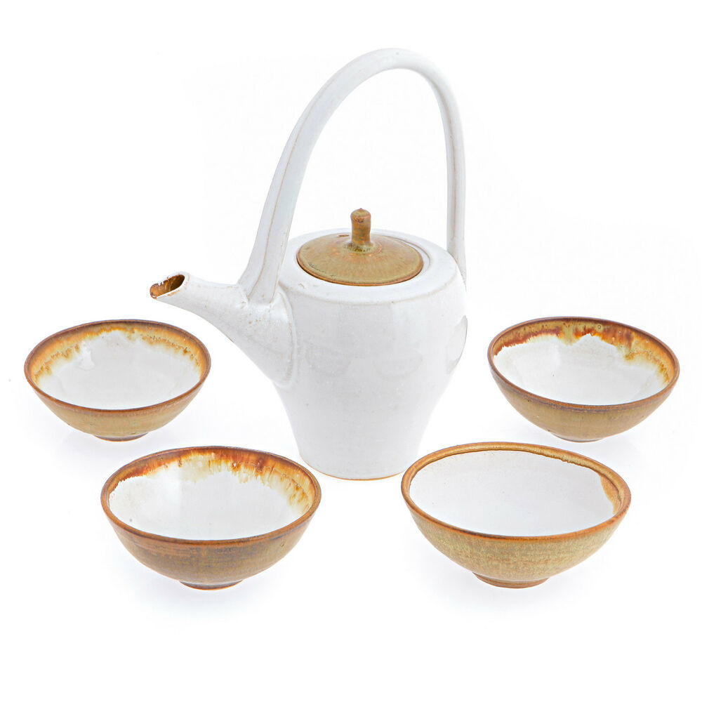 japanese style tea set handmade ceramic teapot and cups white beige ebay. Black Bedroom Furniture Sets. Home Design Ideas