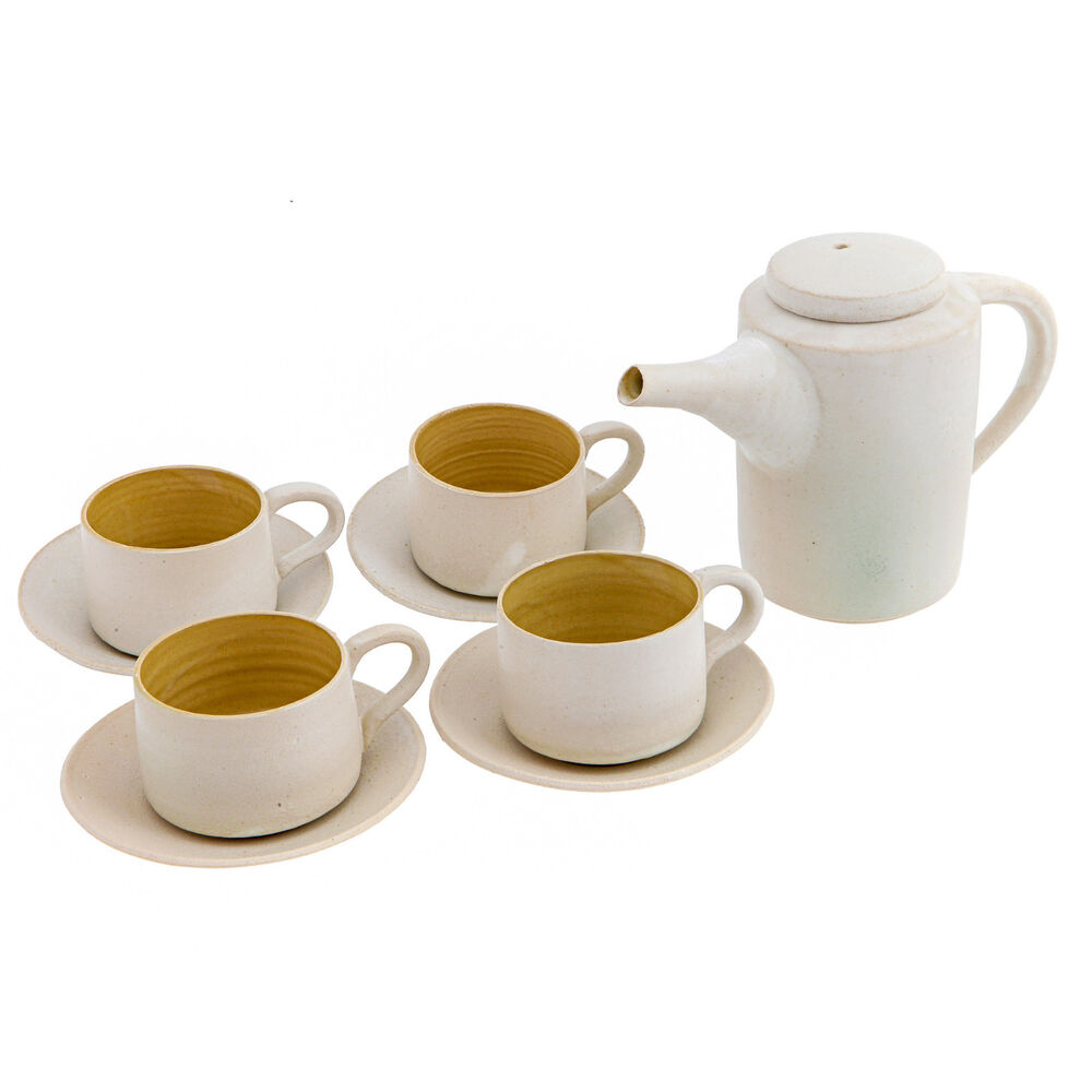 quality tea set handmade ceramic teapot and cups with saucers white beige ebay. Black Bedroom Furniture Sets. Home Design Ideas