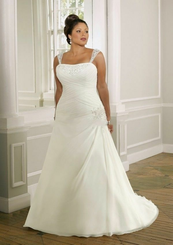Plus size new white ivory wedding dress bridal gown custom for Wedding dresses size 28