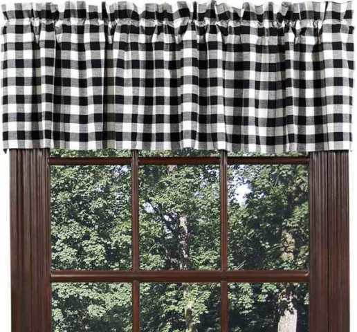 BUFFALO BLACK CHECK Valance Cotton Country Rustic Gingham
