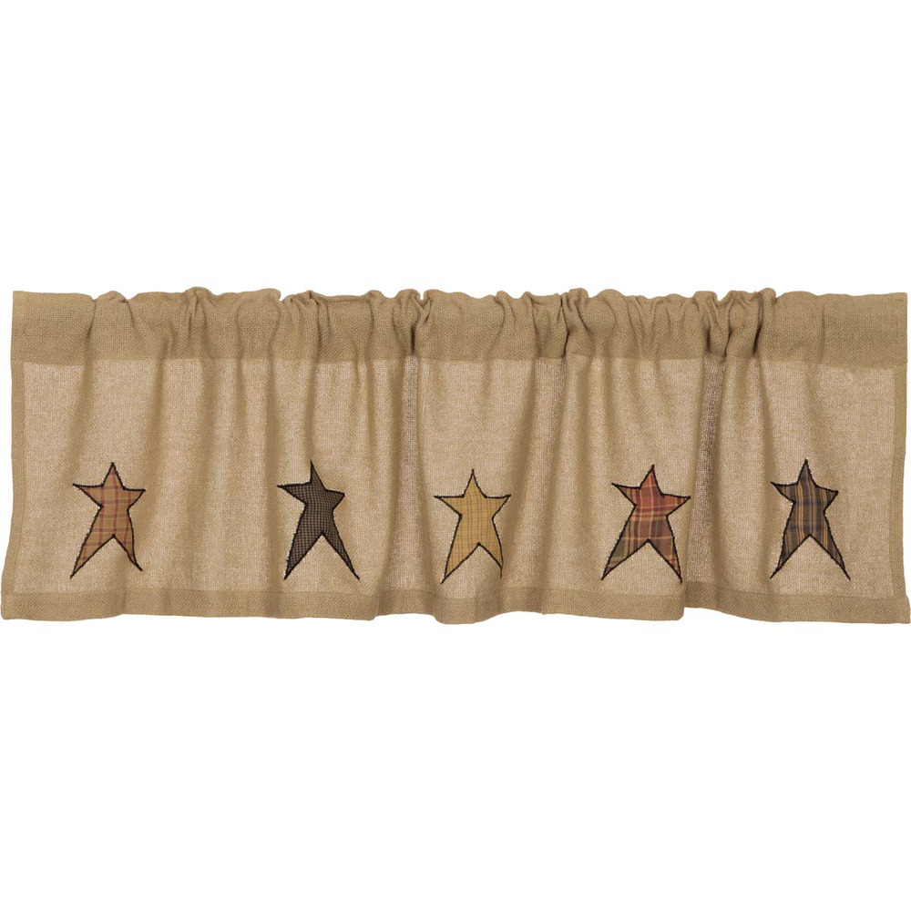... Applique Star Window Valance Natural Rustic Primitive Tan Khaki | eBay