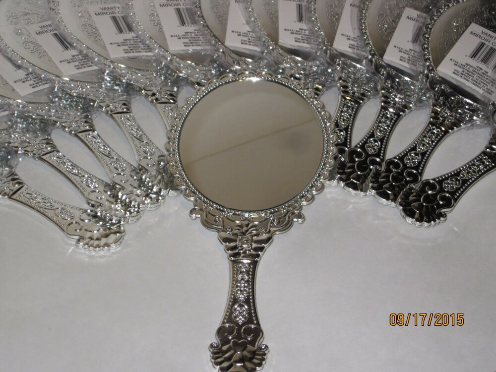 Vintage style silver vanity mirror handheld princess for Old style mirror