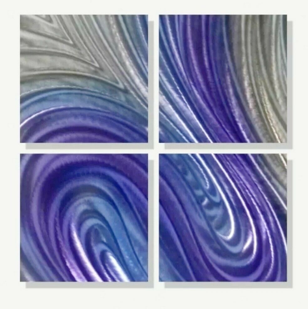 Purple Modern Abstract Painting Metal Wall Art Home Decor Accent Realization