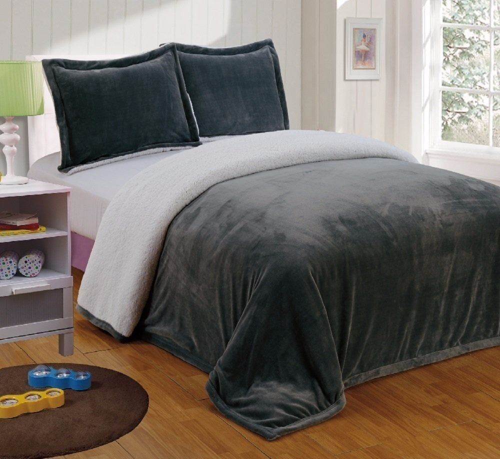 Chezmoi Collection Reversible Micro Mink Sherpa Throw