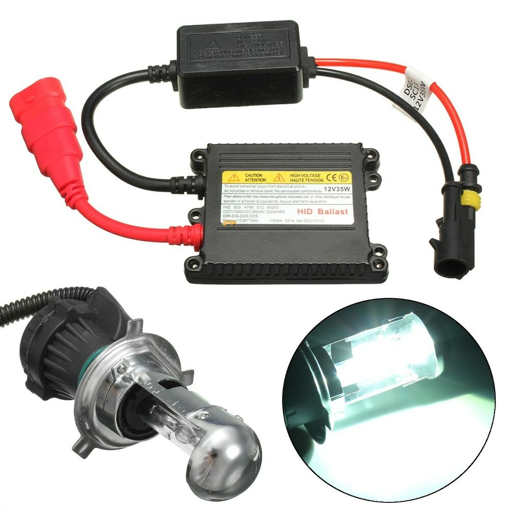 motorcycle headlight hid xenon h4 hi lo bulb 6000k 35w ballast conversion kit ebay. Black Bedroom Furniture Sets. Home Design Ideas