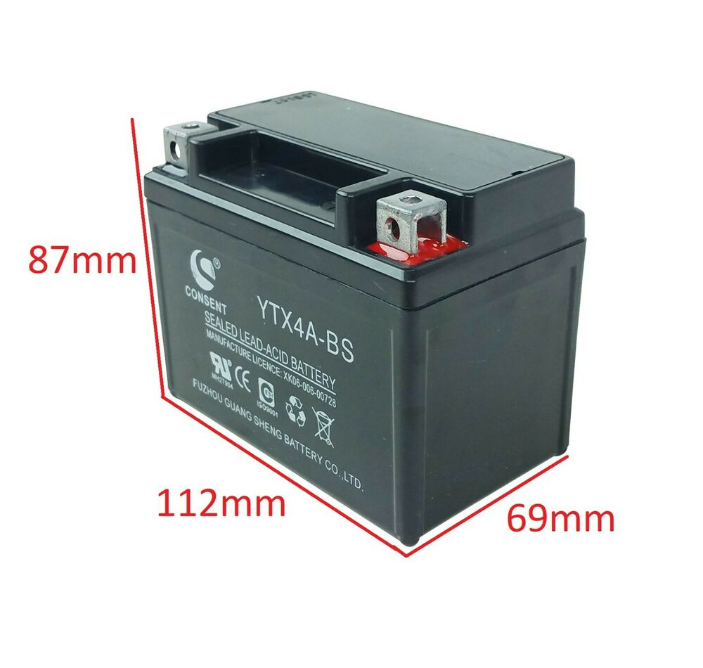 12v 4ah atv battery 50cc 70cc 90cc 110cc 125cc motorcycle scooter check feedback ebay. Black Bedroom Furniture Sets. Home Design Ideas