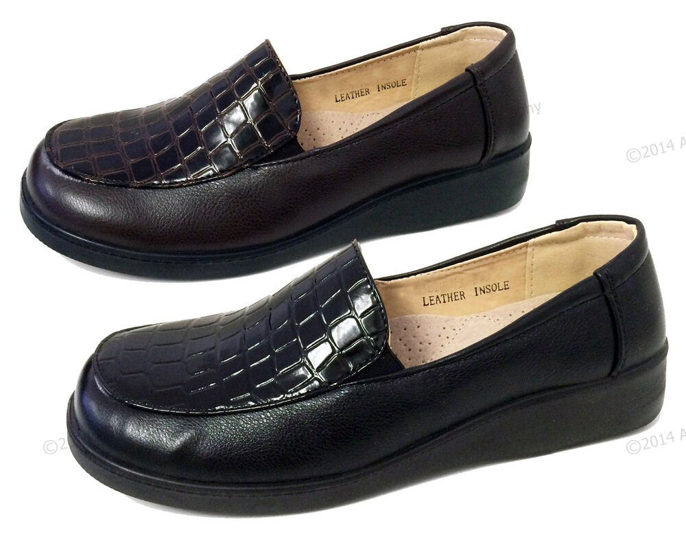 Womens Loafers Hotel Restaurant Walking Slip On Comfort