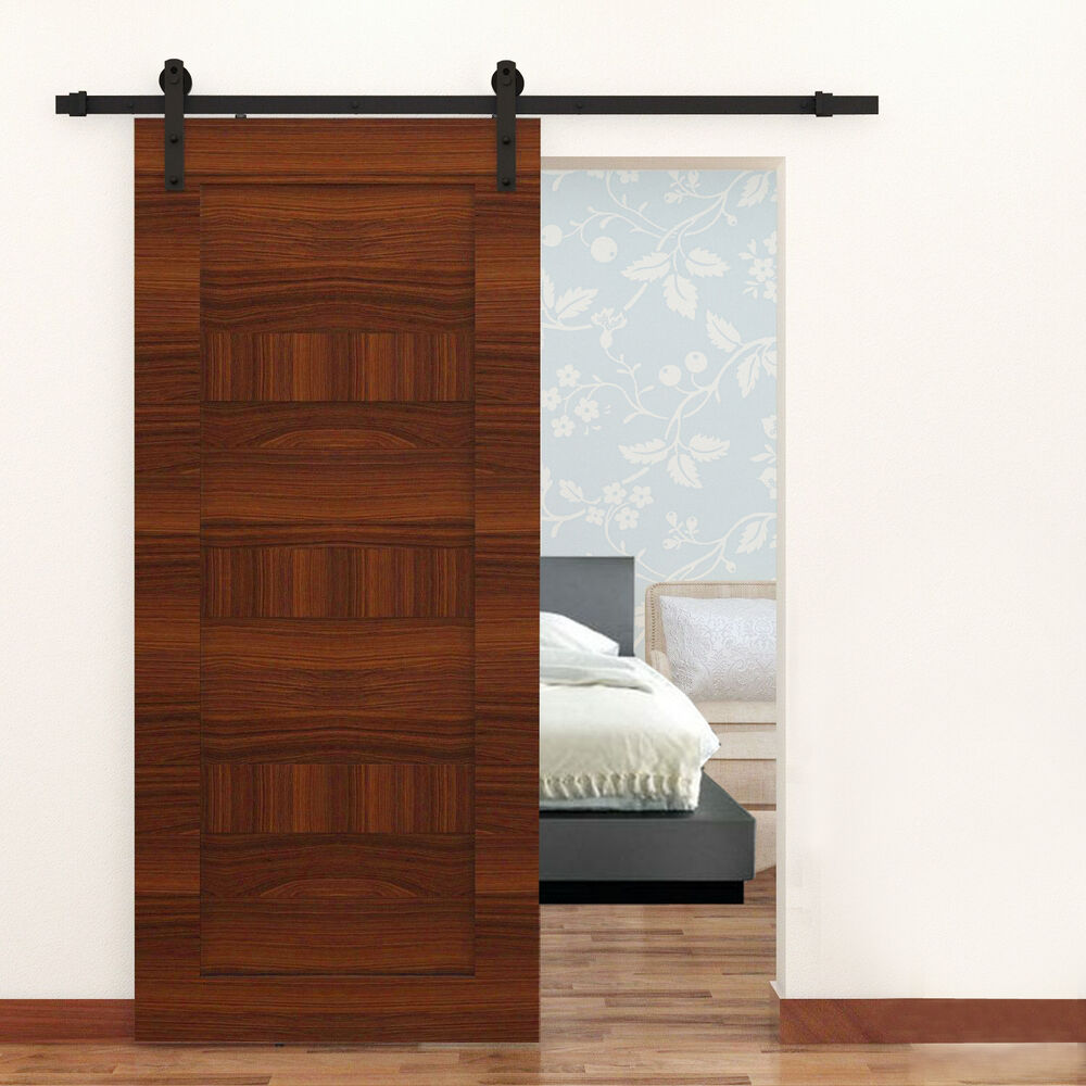 6ft black steel antique country sliding wooden door. Black Bedroom Furniture Sets. Home Design Ideas
