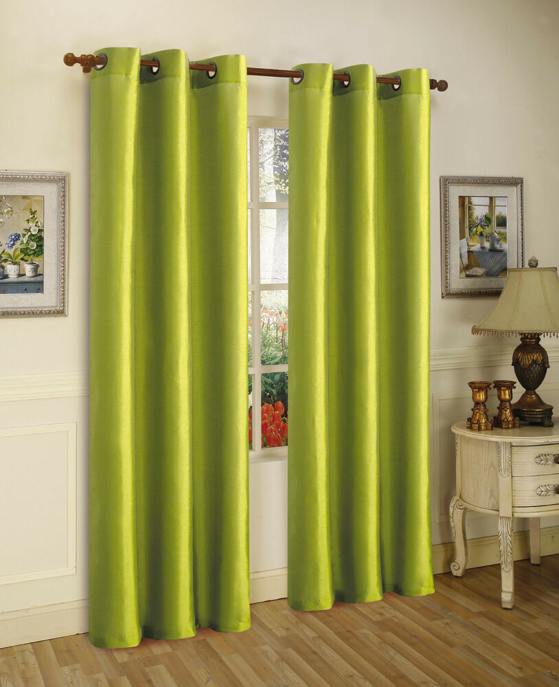 2pcs Mira Lime Green Solid Grommet Faux Silk Window Curtains Panels 95 Ebay
