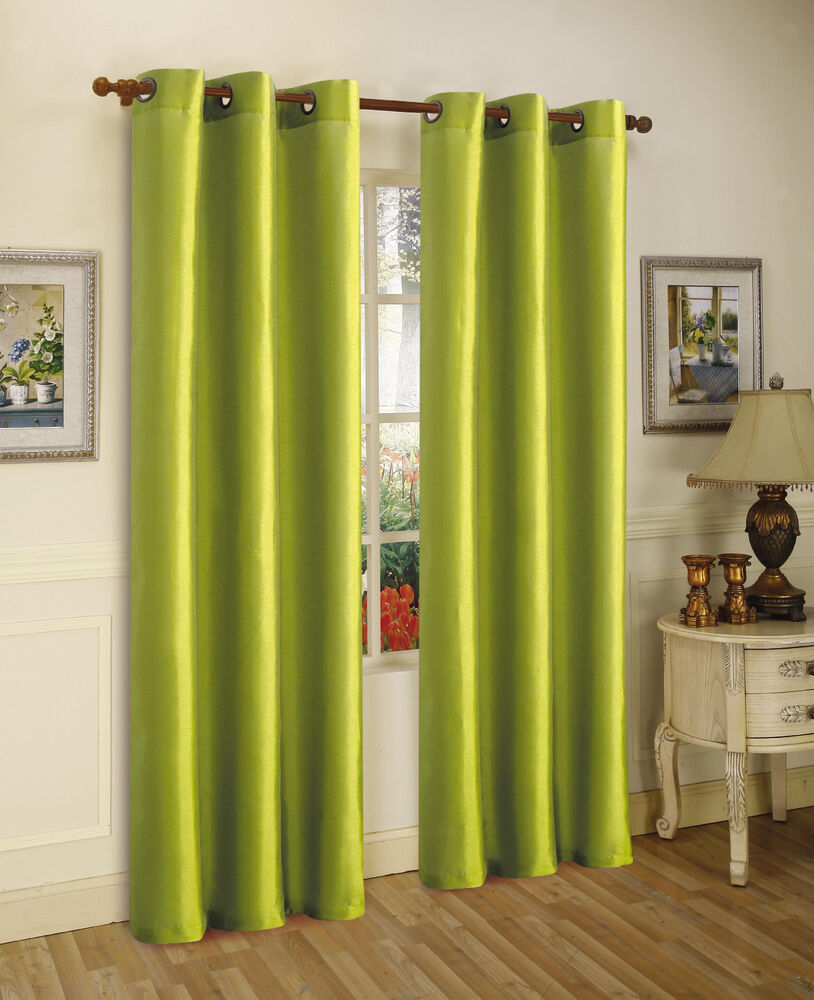 Lime Green Kitchen Curtains: 2PCS MIRA LIME GREEN SOLID GROMMET FAUX SILK WINDOW
