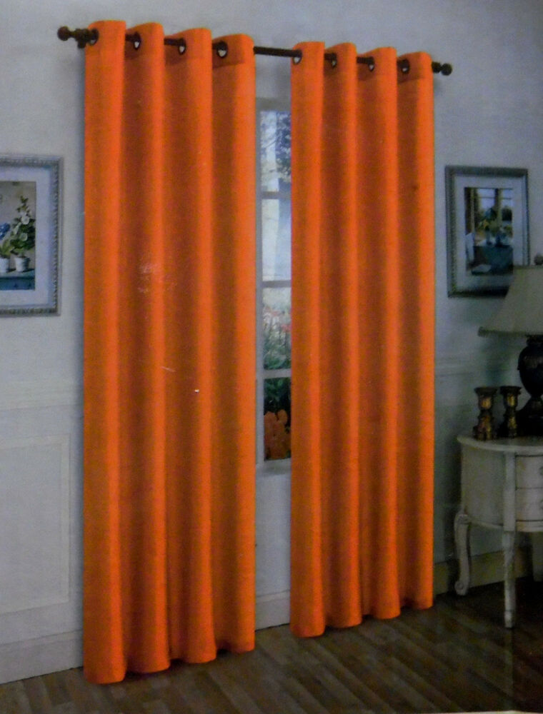 2pcs Mira Orange Solid Grommet Faux Silk Window Curtains