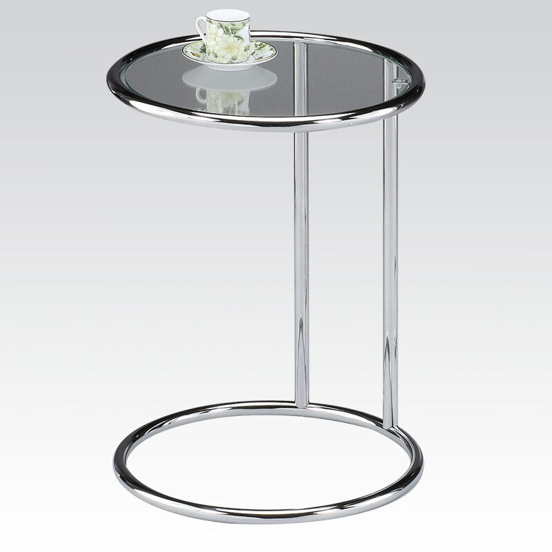Kings Brand Coylin Chrome Glass Cocktail Coffee Table: Clear Glass Top Chrome Metal Base Small Round Accent End