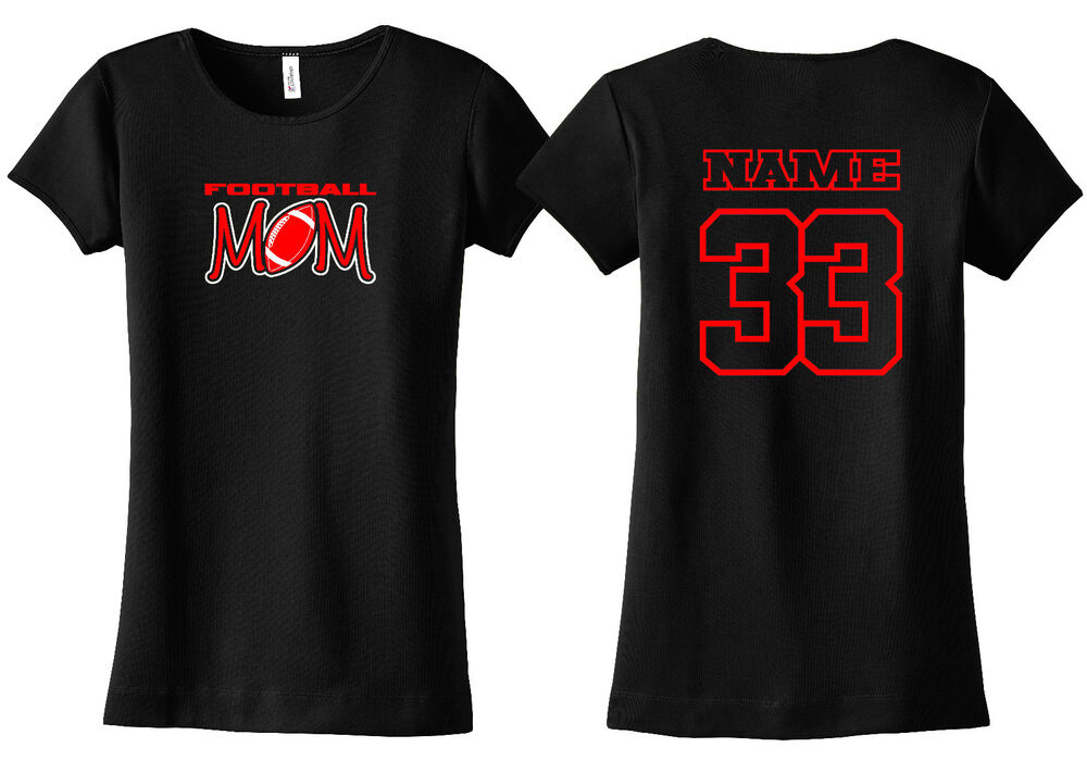 Football mom personalized shirt custom name number pee for Custom t shirts one day delivery