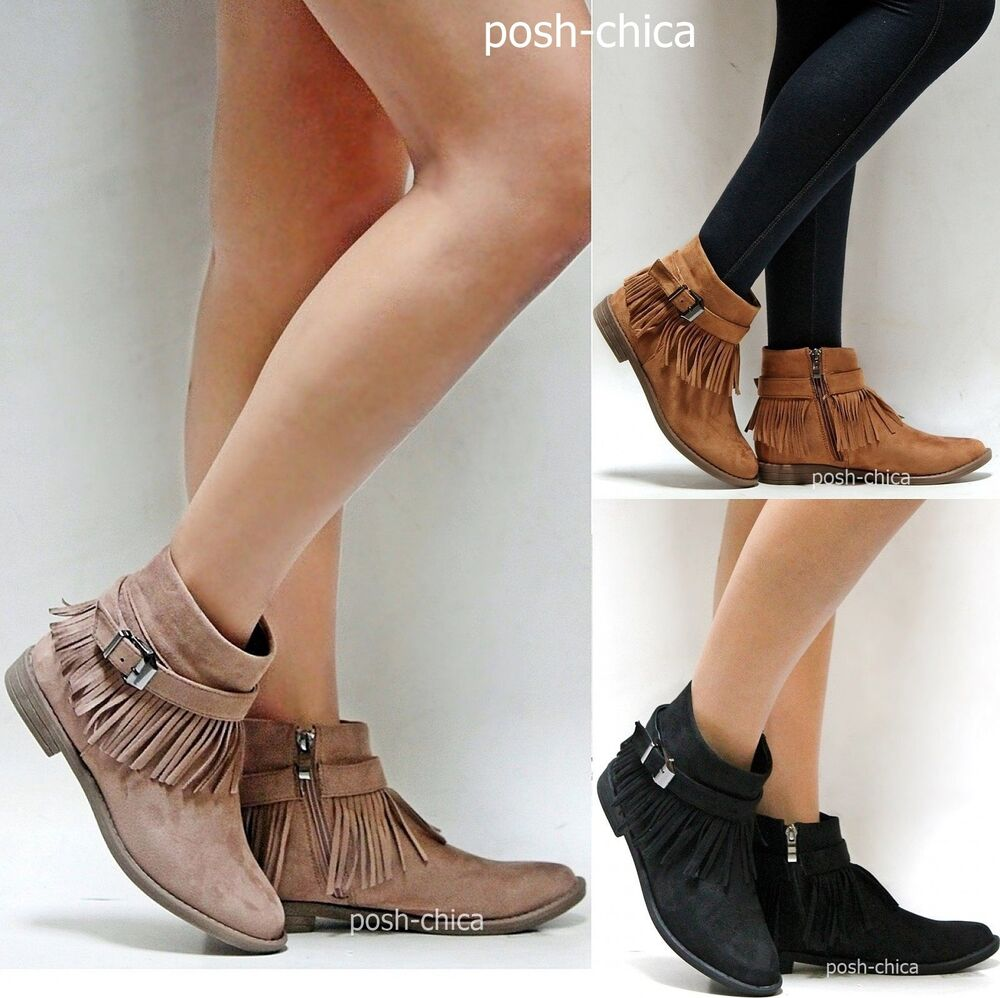 New Women Amy Taupe Tan Black Western Fringe Moccasin