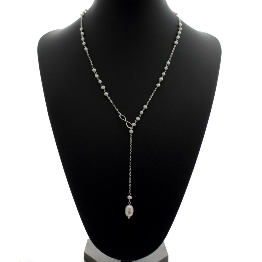 Necklace With A Pearl: Pearl Lariat Necklace 9mm Freshwater Pearls Drop 24