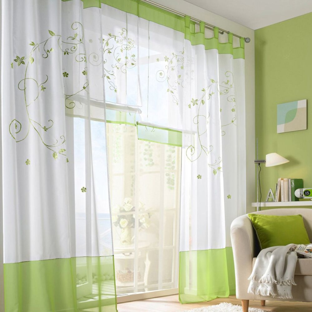 1pcs Tab Top Window Curtains Floral Sheer Curtain Drapes