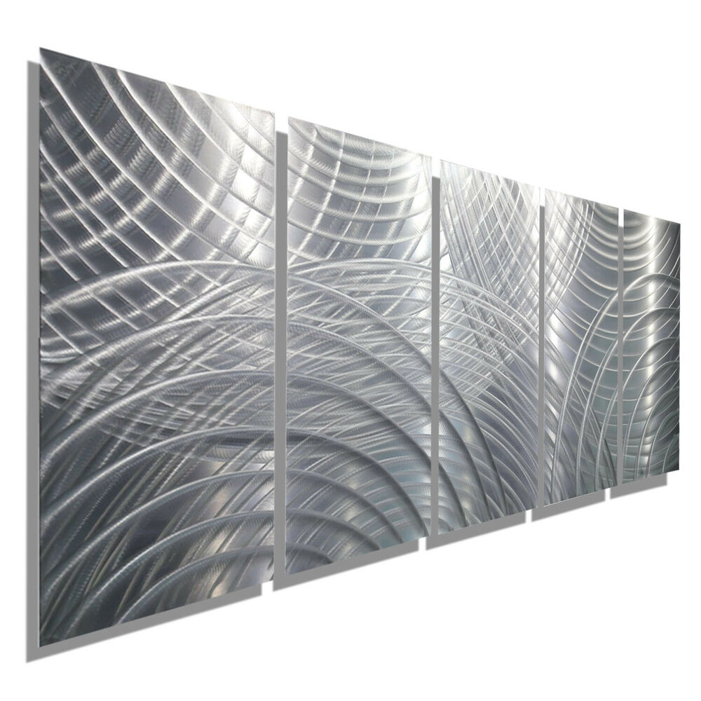 Large Modern Abstract Silver Metal Wall Art Contemporary ...