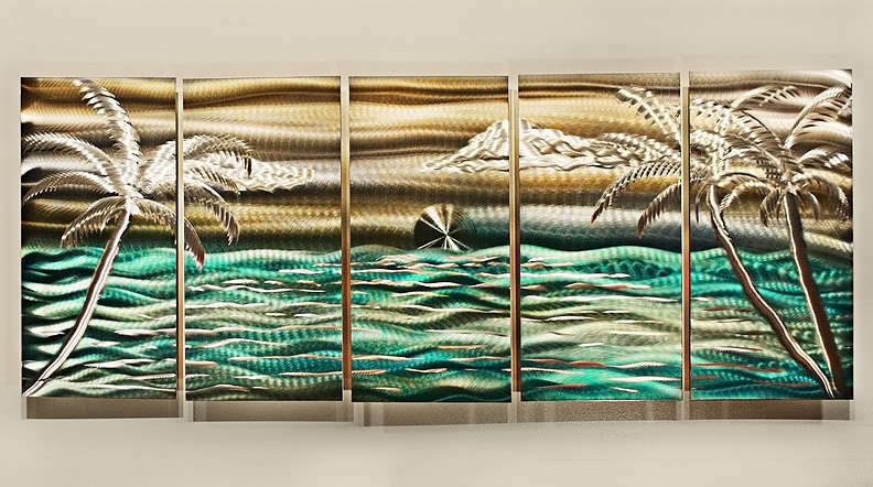 Nautical painting abstract tropical metal wall art decor for Tropical metal wall art