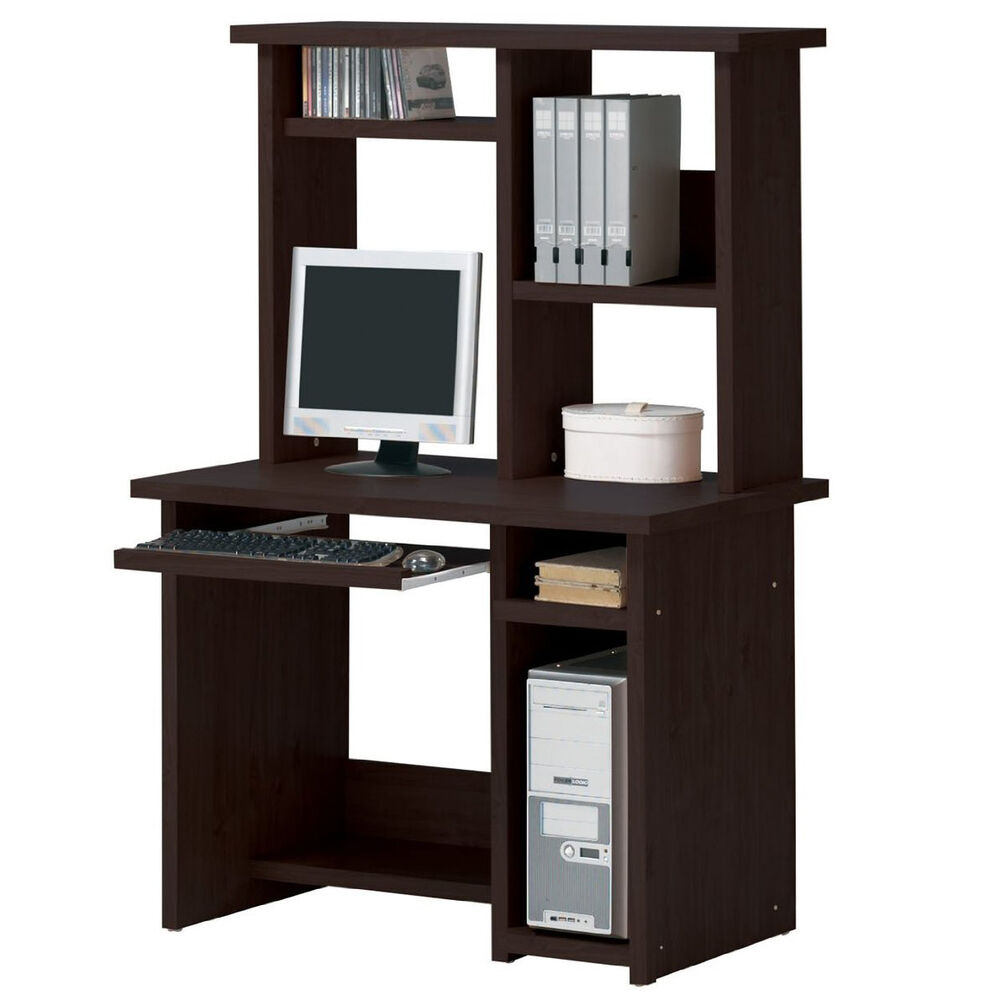 espresso computer desk optional hutch sliding keyboard tray shelves home office ebay. Black Bedroom Furniture Sets. Home Design Ideas