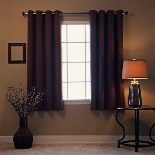 1 BROWN COFFEE SOLID PANEL THERMAL LINED BLACKOUT GROMMET
