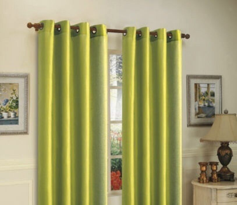 1 Lime Green Solid Panel Thermal Lined Blackout Grommet