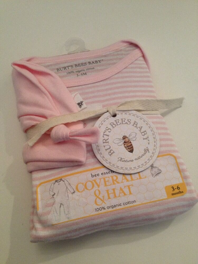Burts Bees Organic Baby Girl Set Coverall Hat Size 3 6