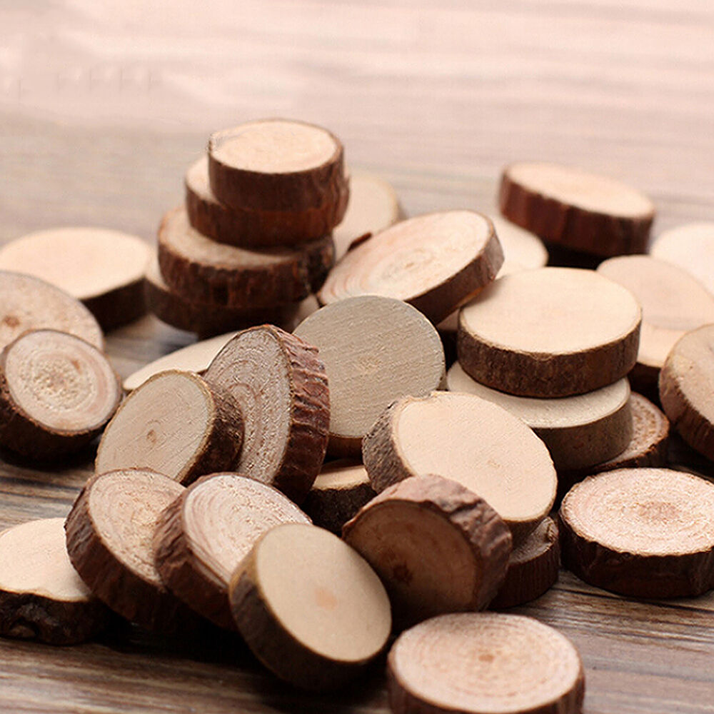 Great 50 pcs wood slice tree trunk craft rustic wedding for Tree trunk slice ideas