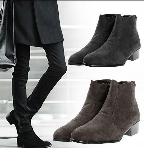 Mens Casual Dress Chunky Heel Shoes Side Zip Faux Suede