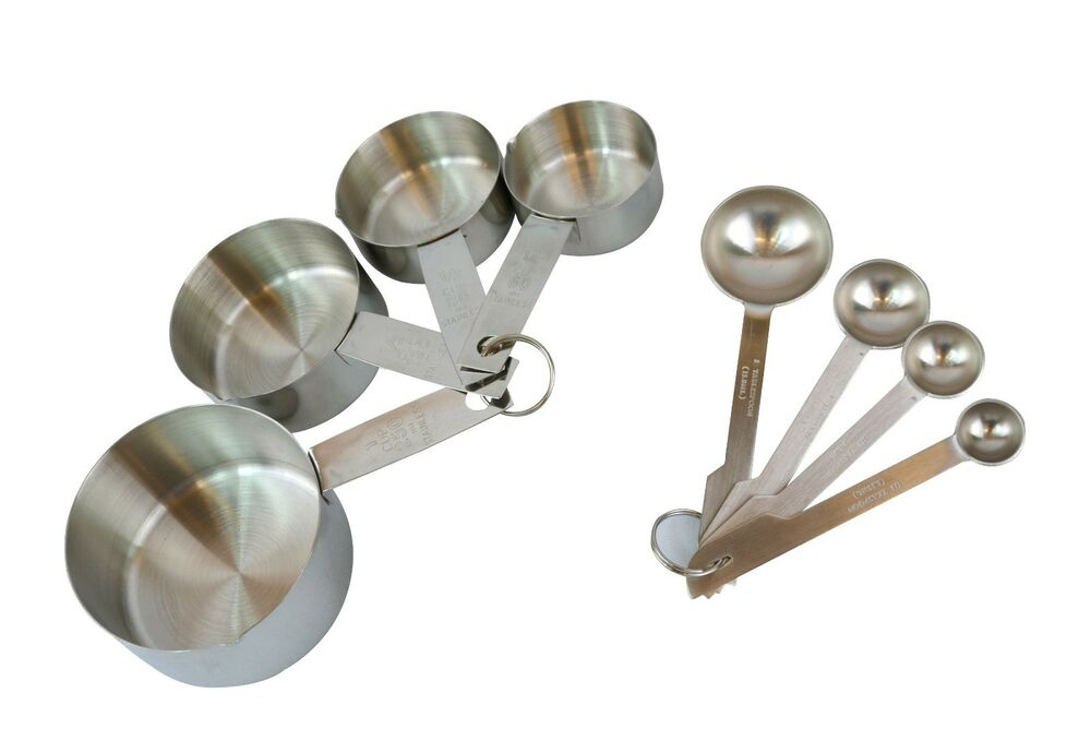 8 pieces stainless steel measuring cups and measuring spoon set new eastwood ebay. Black Bedroom Furniture Sets. Home Design Ideas