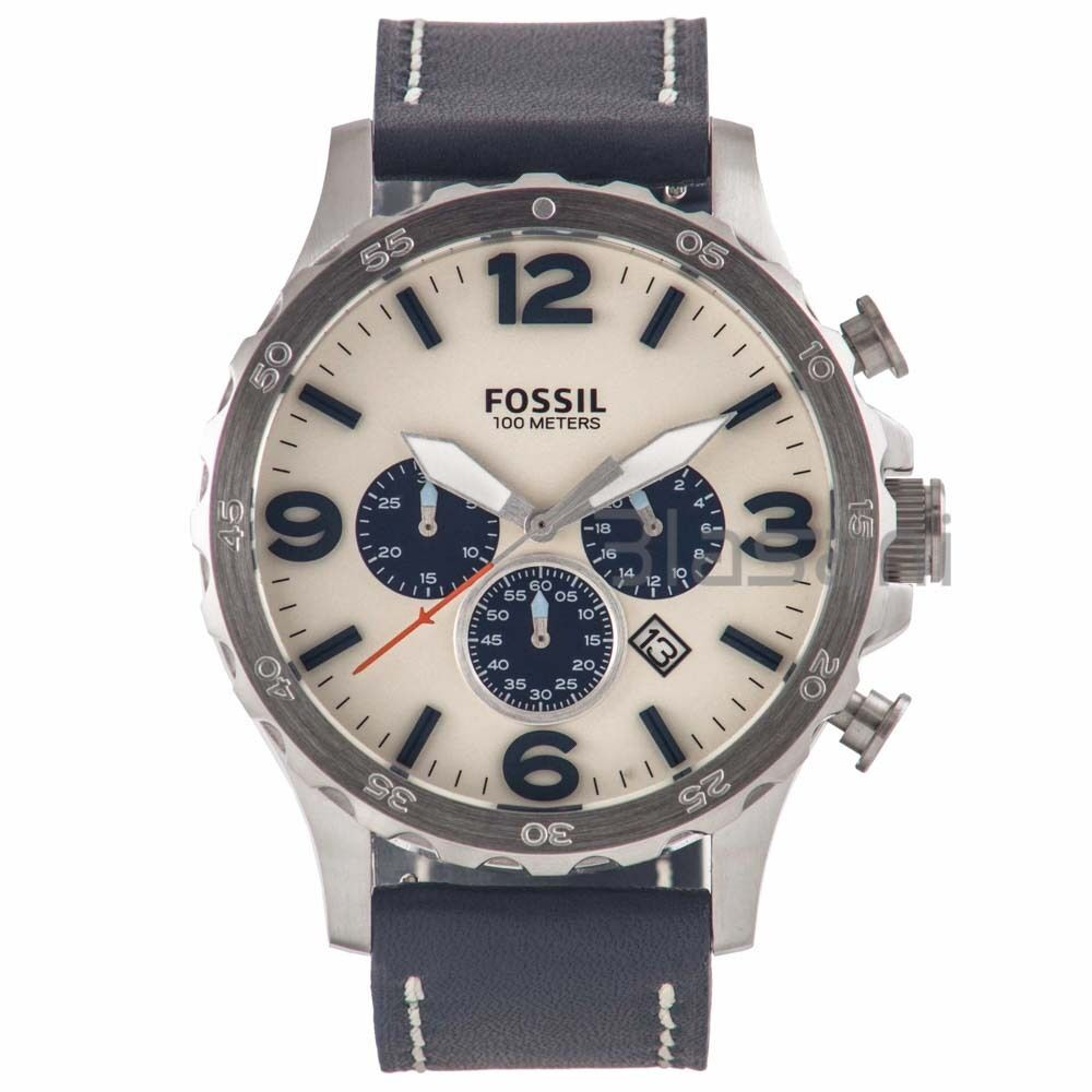 fossil original jr1480 s nate navy leather 50mm