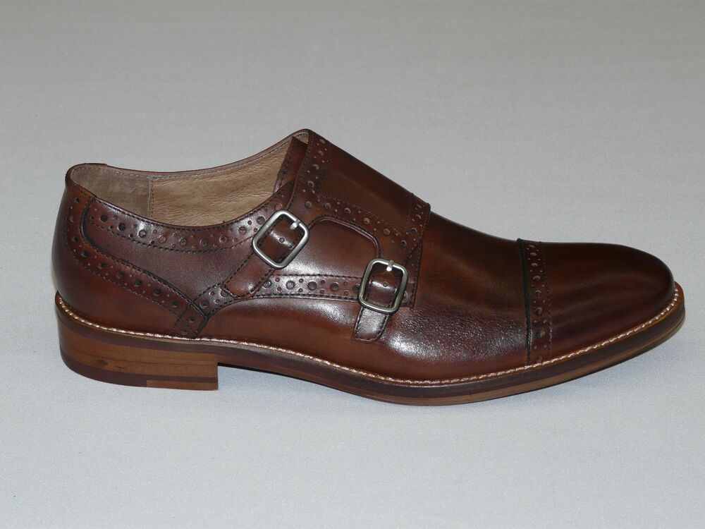 Mens Johnston Amp Murphy Leather Shoes Double Buckle 20 8683