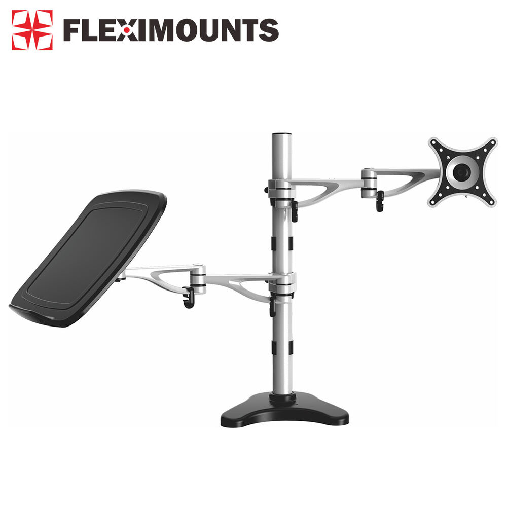 Dual Arm Laptop Notebook Amp Monitor Mount Lcd Arm Upto 27