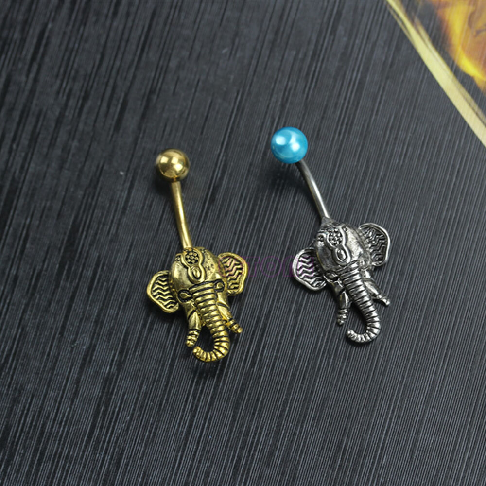 New elephant head surgical steel belly button ring navel for Belly button navel jewelry
