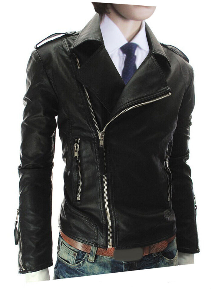 US Seller Mens Cool Style Zip-Front Faux-Leather Jacket ...