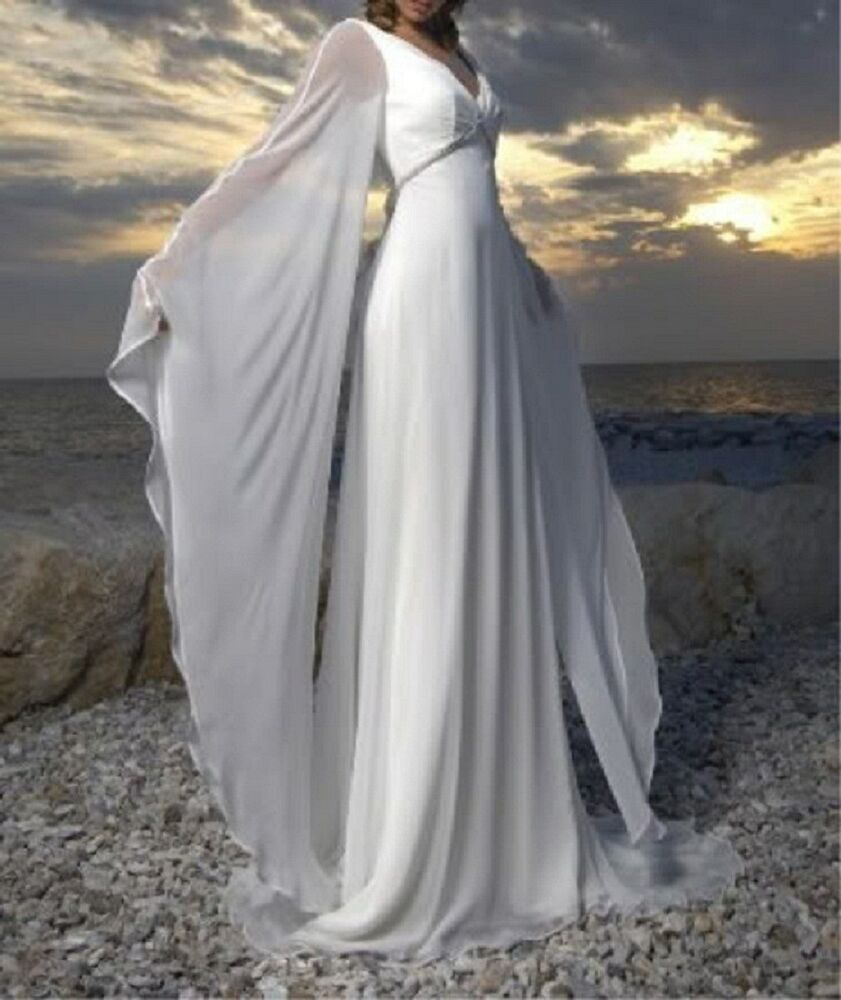 New custom white ivory chiffon long vintage beach wedding for Wedding dress in ebay