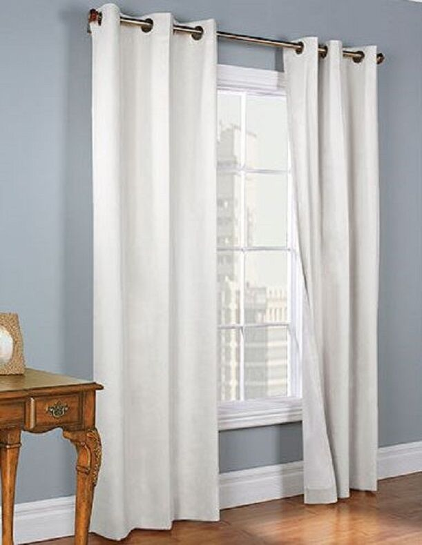 2 White Grommet Panel Window Curtain Lined 99 Blackout Thermal K34 63 84 95 108 Ebay