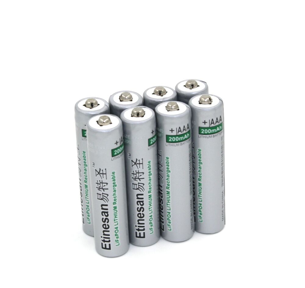 8pcs etinesan 3 2v 10440 aaa 200mah lifepo4 lithium li ion rechargeable battery ebay. Black Bedroom Furniture Sets. Home Design Ideas
