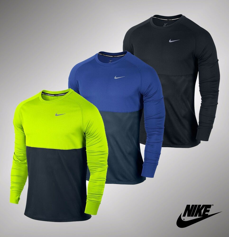 New mens genuine nike racer dri fit long sleeve crew neck for Best athletic dress shirts