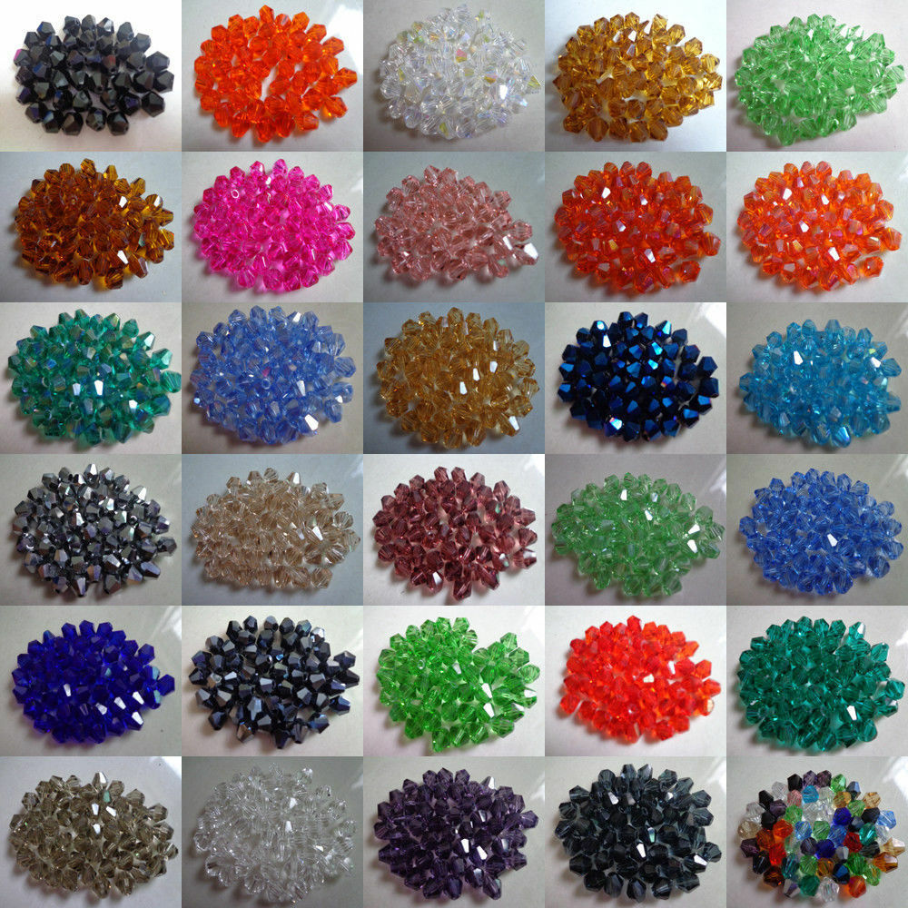 Lots Of 100pcs Faceted Glass Crystal Fingings Loose Bicone