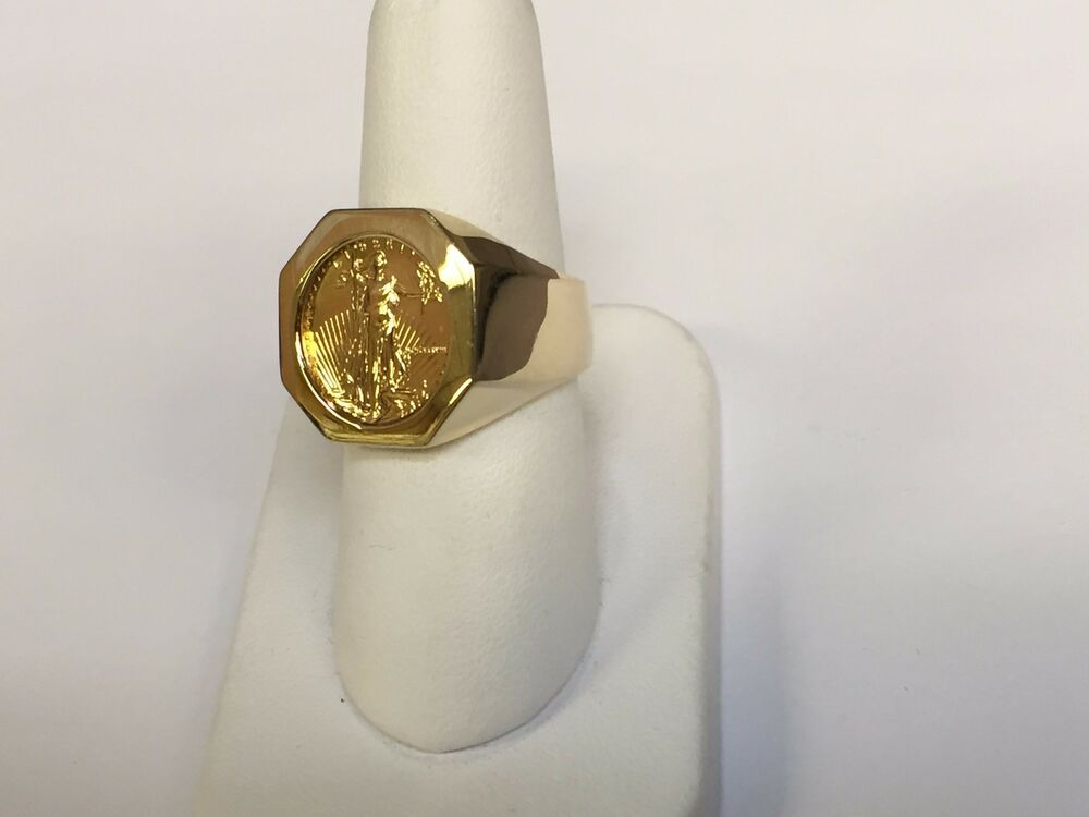 14k Gold Mens Coin Ring With A 22k 1 10 Oz American Eagle