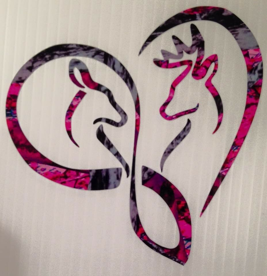 Infinity Heart Doe Buck Deer Vinyl Decal Browning Muddy Country - Browning vinyl decals