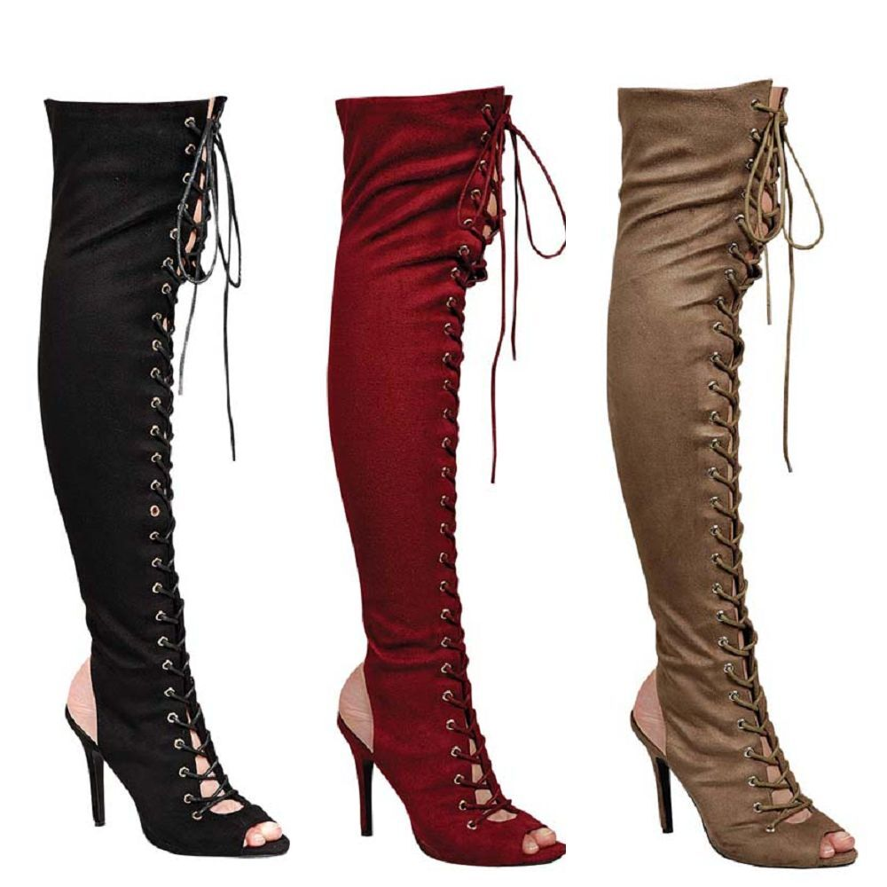 breckelle s new womens boots the knee lace up back