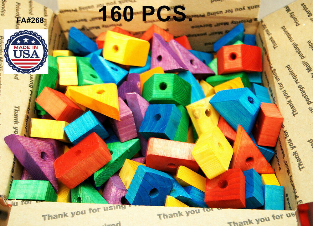 Colored wood wooden blocks for bird parrot toy parts macaw