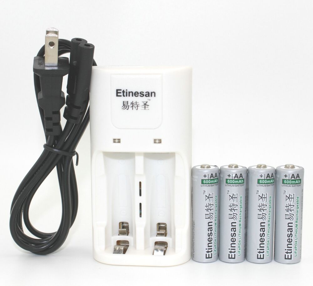 4pc Etinesan 600mah 3 2v 14500 Aa Rechargable Battery For