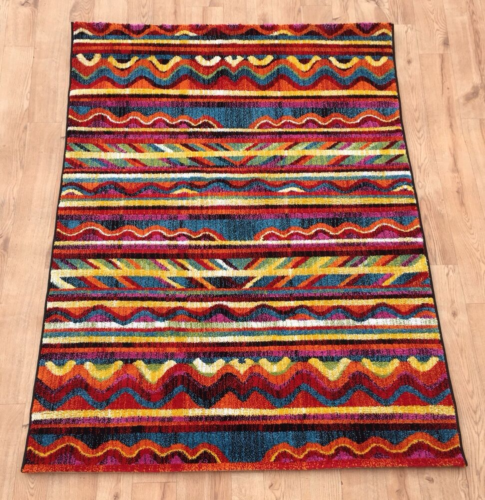 Modern bright aztec rugs new large good quality vibrant for Cheap good quality rugs