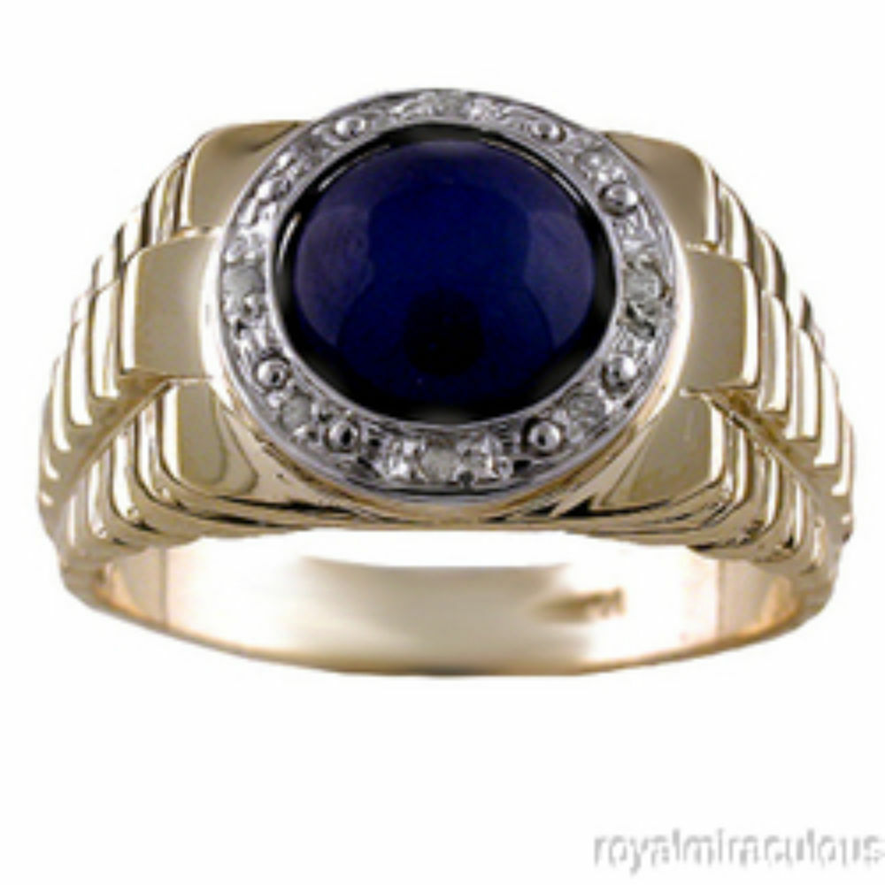 mens ring blue star sapphire diamond 14k yellow gold ebay. Black Bedroom Furniture Sets. Home Design Ideas