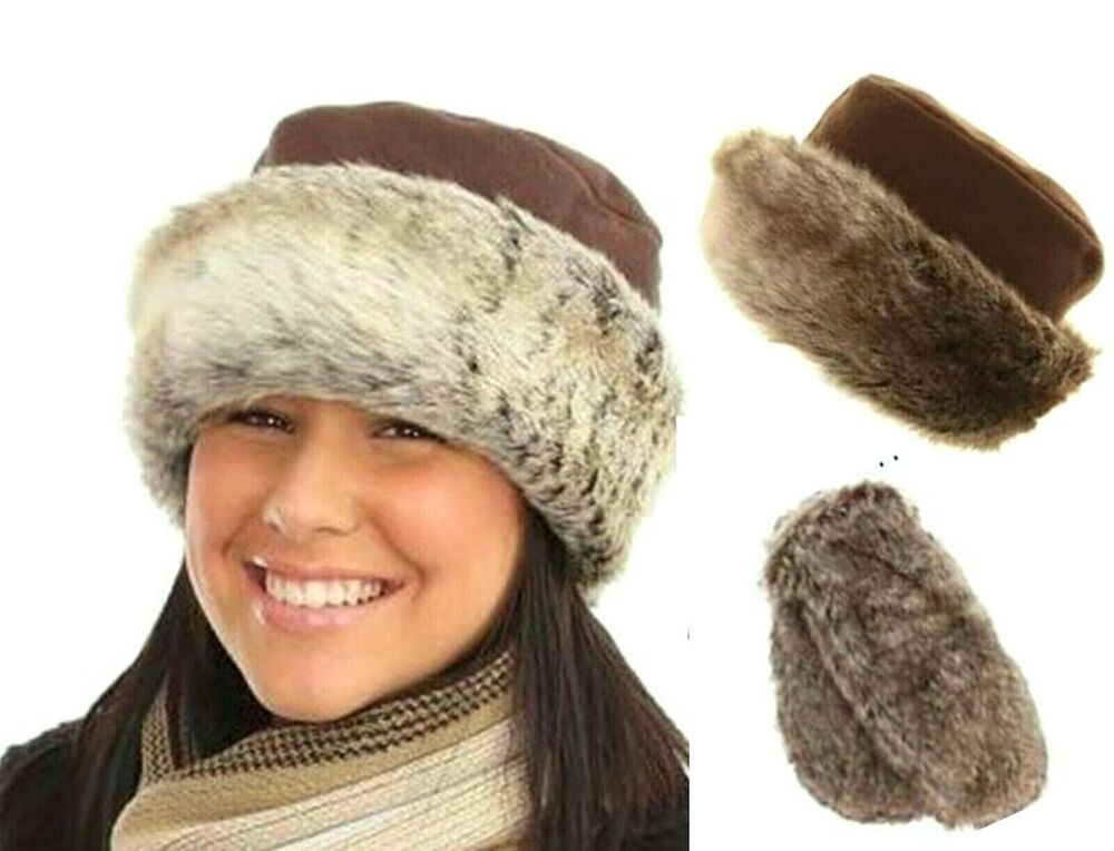 Details about WOMENS FAUX FUR WINTER COSSACK RUSSIAN HATS LADIES FLEECE  LINED PILLBOX FUR HAT 994e9603050f