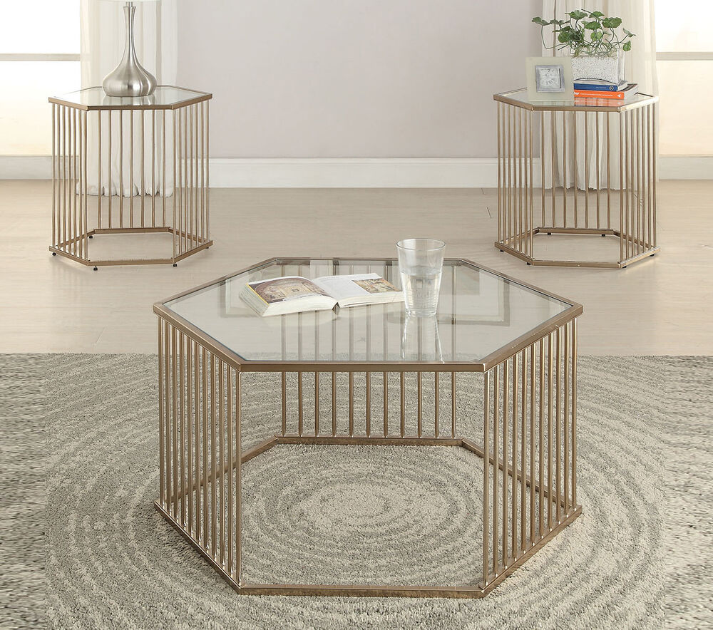 Buy White Glass And Metal Square Coffee Table From Fusion: Contemporary Oaklie Champagne Metal & Clear Glass Top