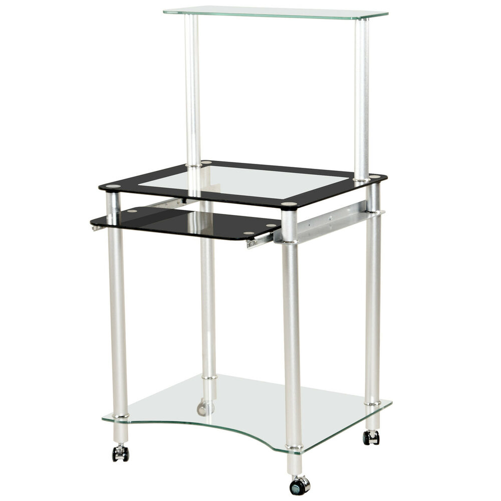 Metal glass study computer laptop pc desk table home office ebay - Metal and glass desks ...